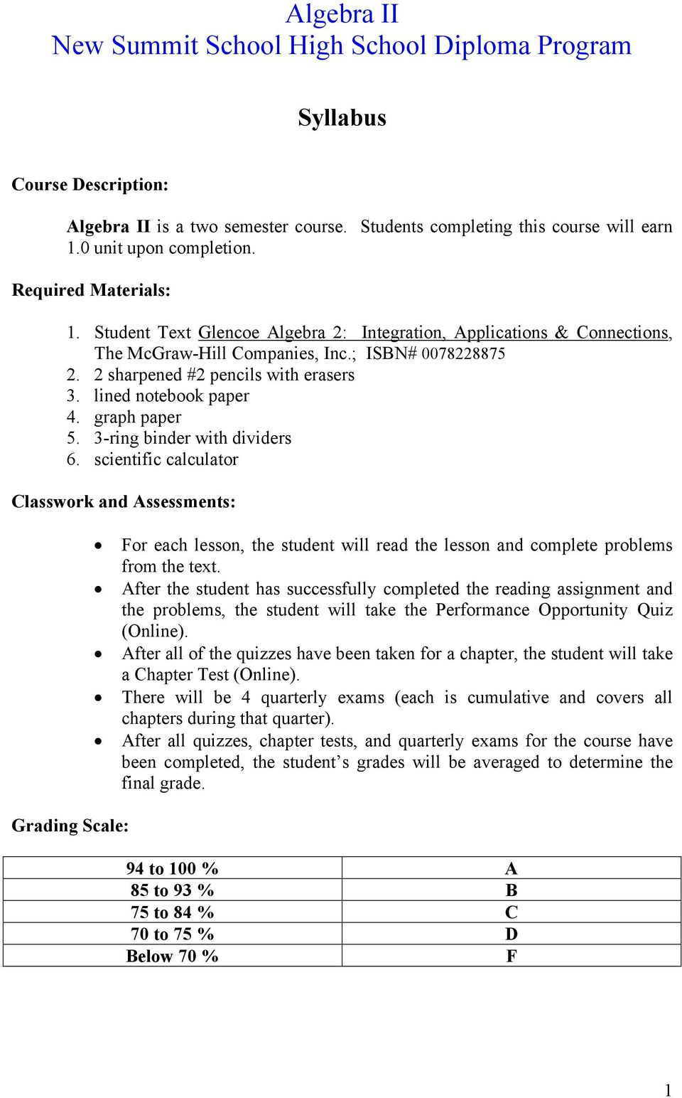 graph paper 5. 3-ring binder with dividers 6. scientific calculator Classwork and Assessments: Grading Scale: For each lesson, the student will read the lesson and complete problems from the text.