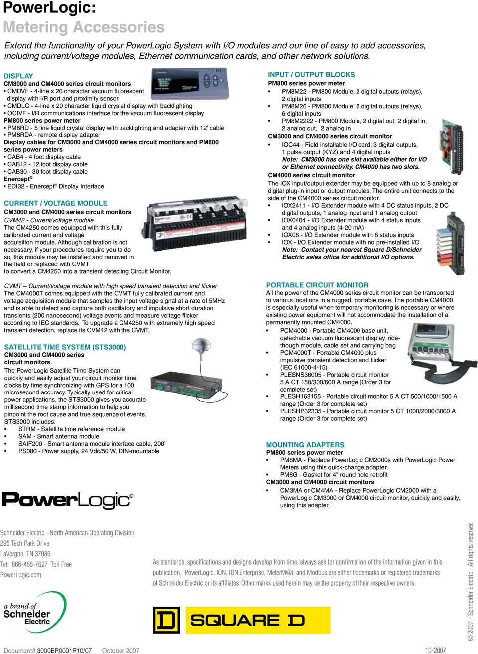 Powerlogic Selection Guide Monitoring Metering Devices For Every Liquid Crystal Display Is Used To Voltage Current Power Cm3000 And Cm4000 S Cmdvf 4 Line X 20 Character Vacuum Fluorescent