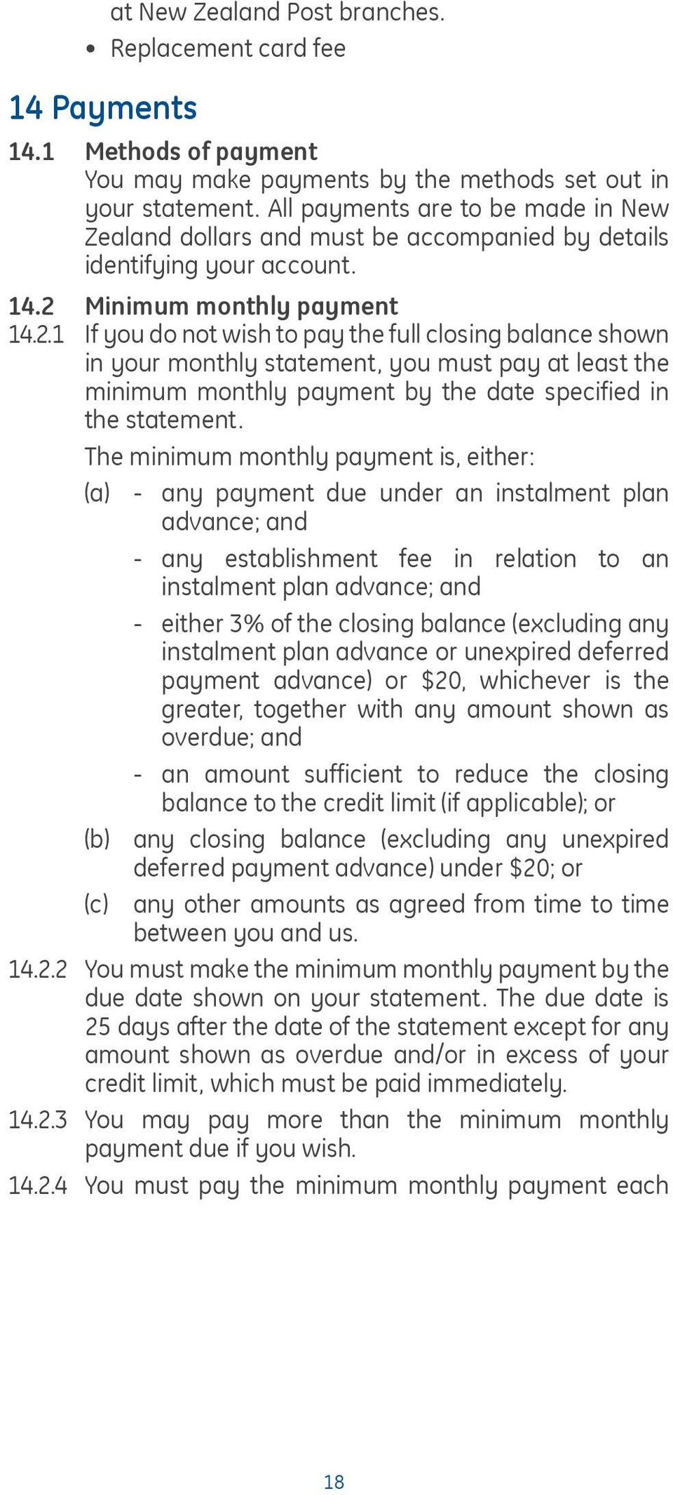 Minimum monthly payment 14.2.