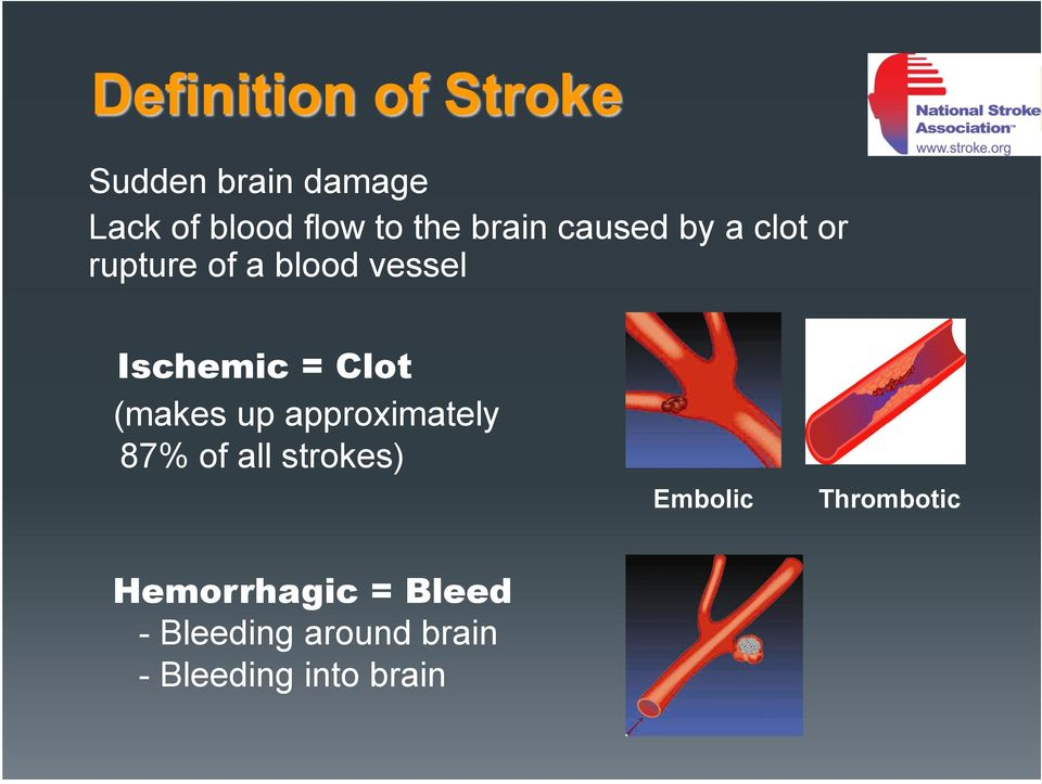 (makes up approximately 87% of all strokes) Embolic