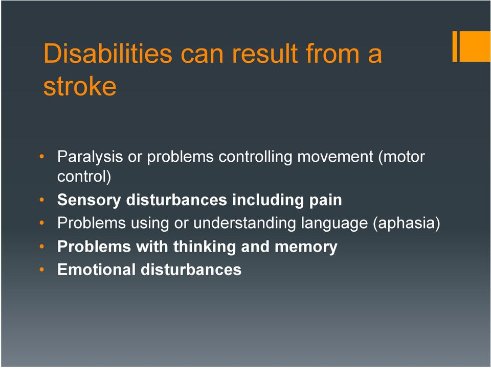 including pain Problems using or understanding language
