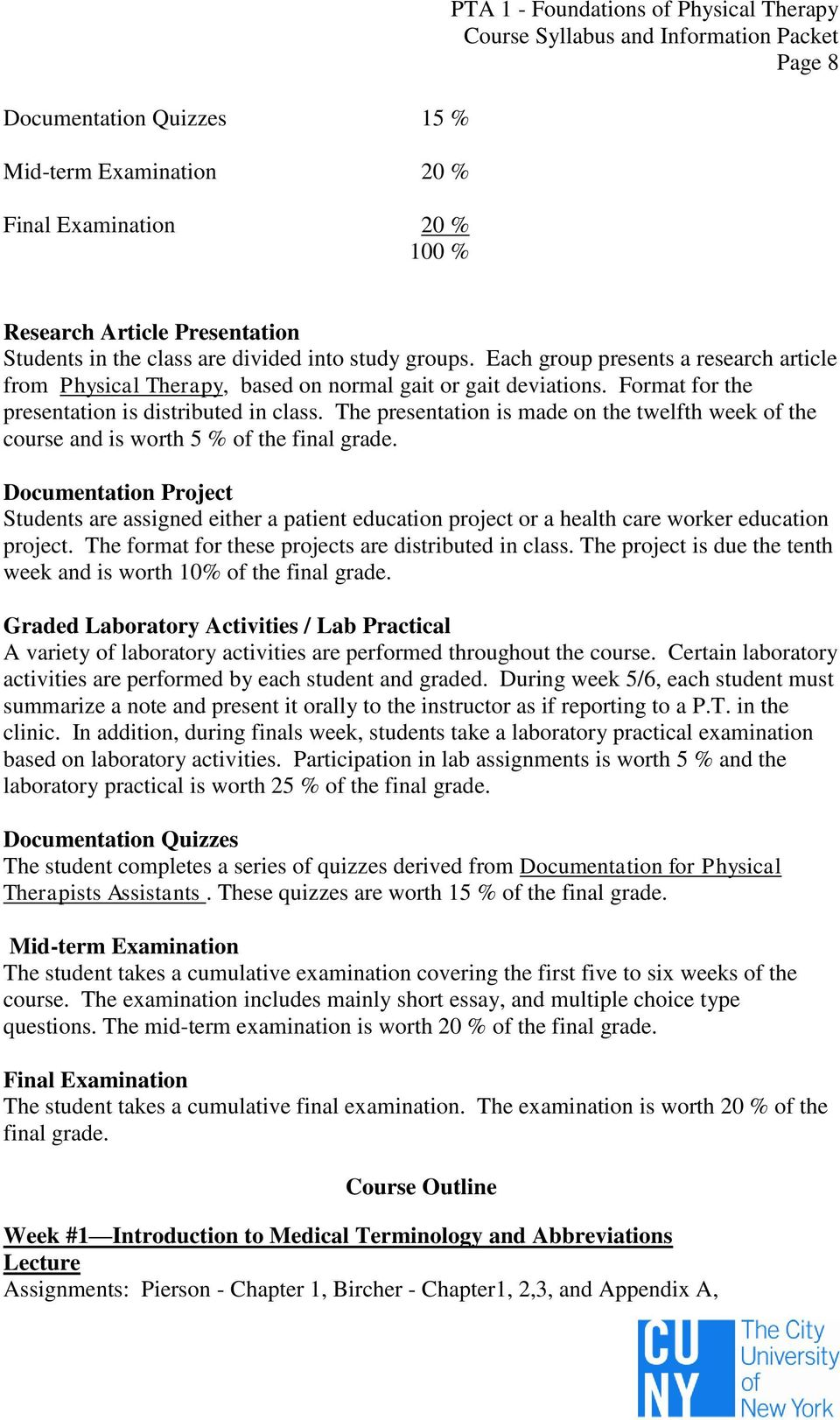 PTA 1 FOUNDATIONS OF PHYSICAL THERAPY SYLLABUS AND COURSE