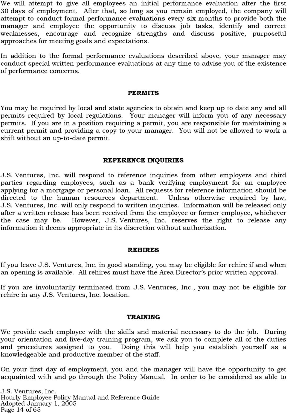 J S  VENTURES, INC  POLICY MANUAL AND REFERENCE GUIDE FOR