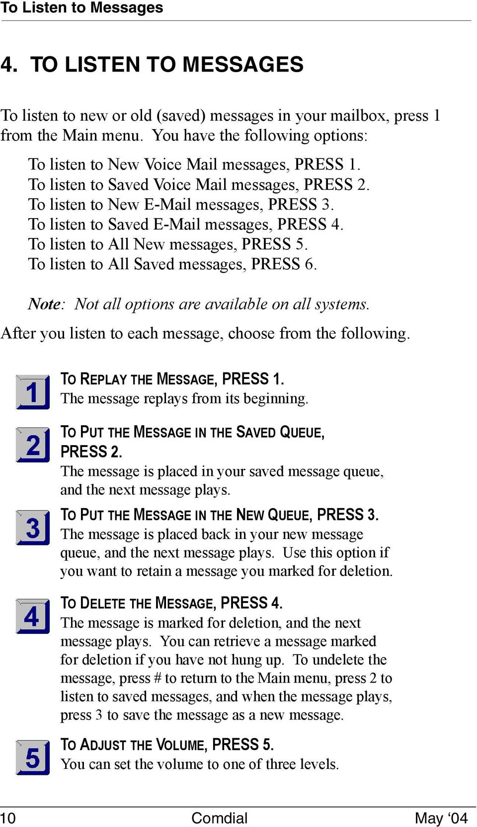To listen to Saved E-Mail messages, PRESS 4. To listen to All New messages, PRESS 5. To listen to All Saved messages, PRESS 6. Note: Not all options are available on all systems.
