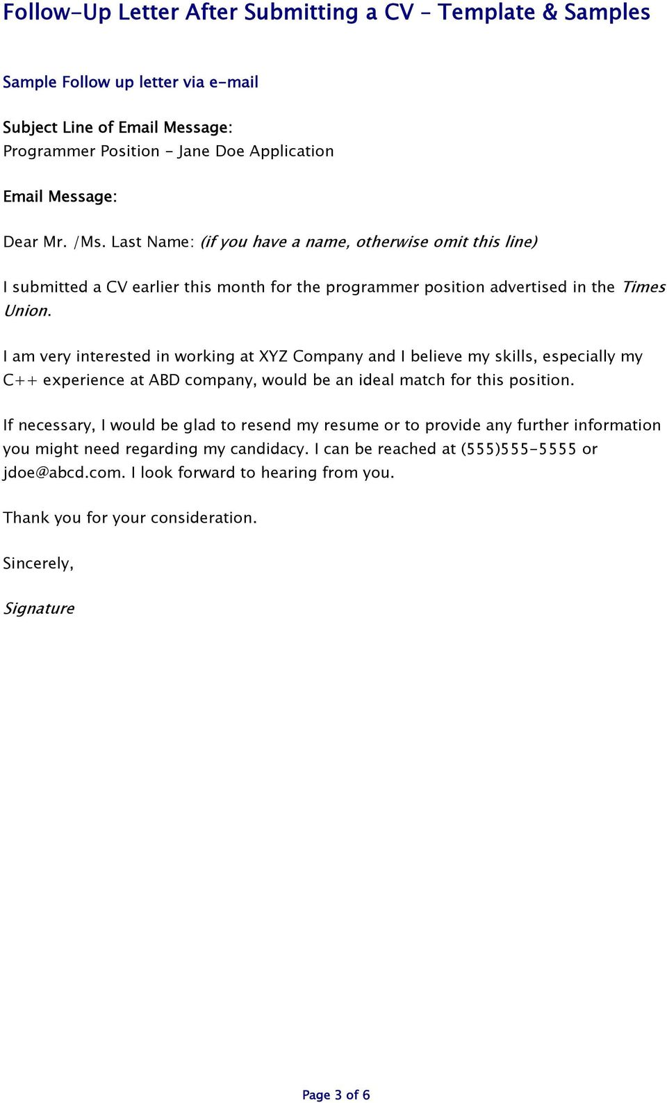 i am very interested in working at xyz company and i believe my skills especially 4 follow up letter template