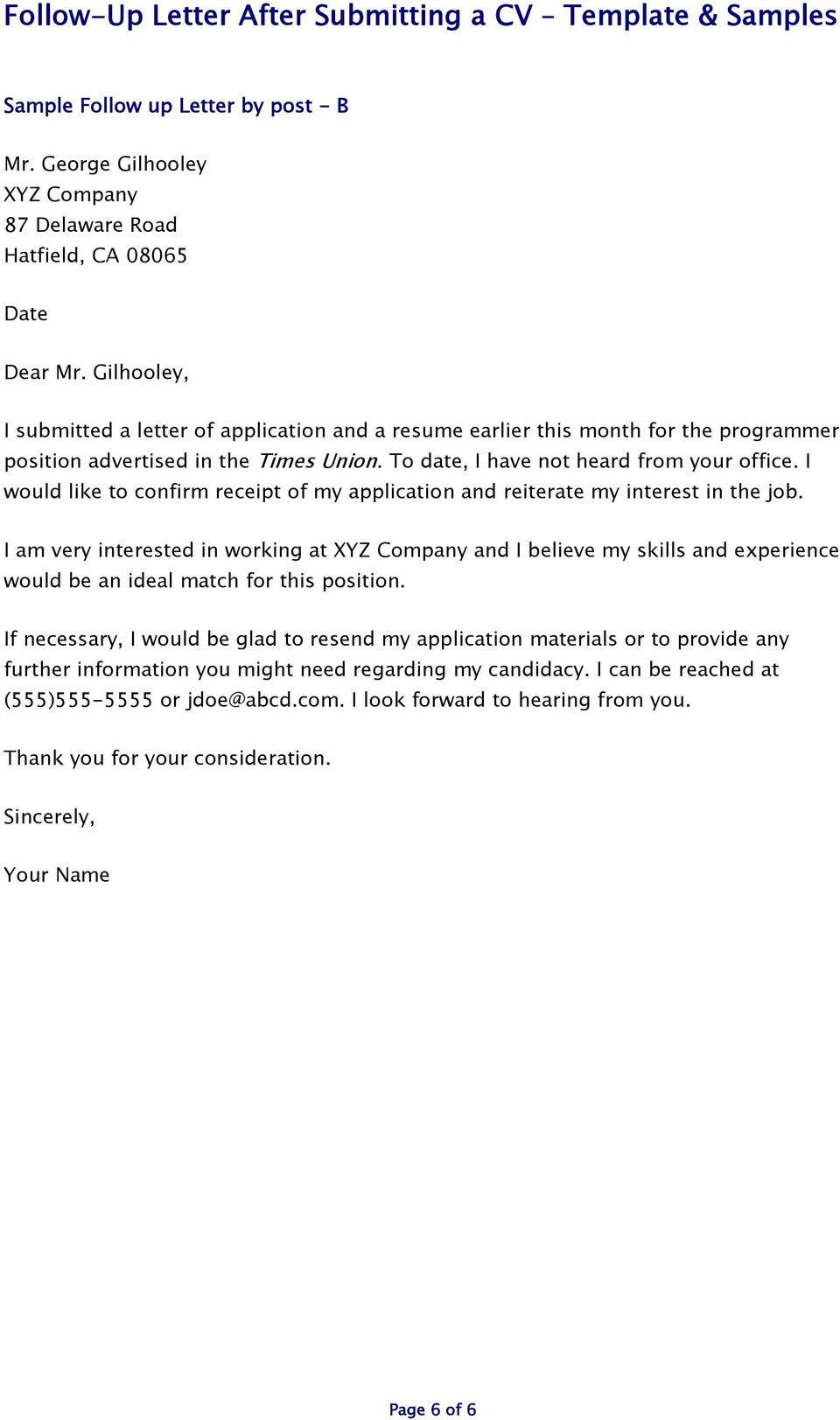 Follow Up Cover Letter After Submitting Resume from docplayer.net
