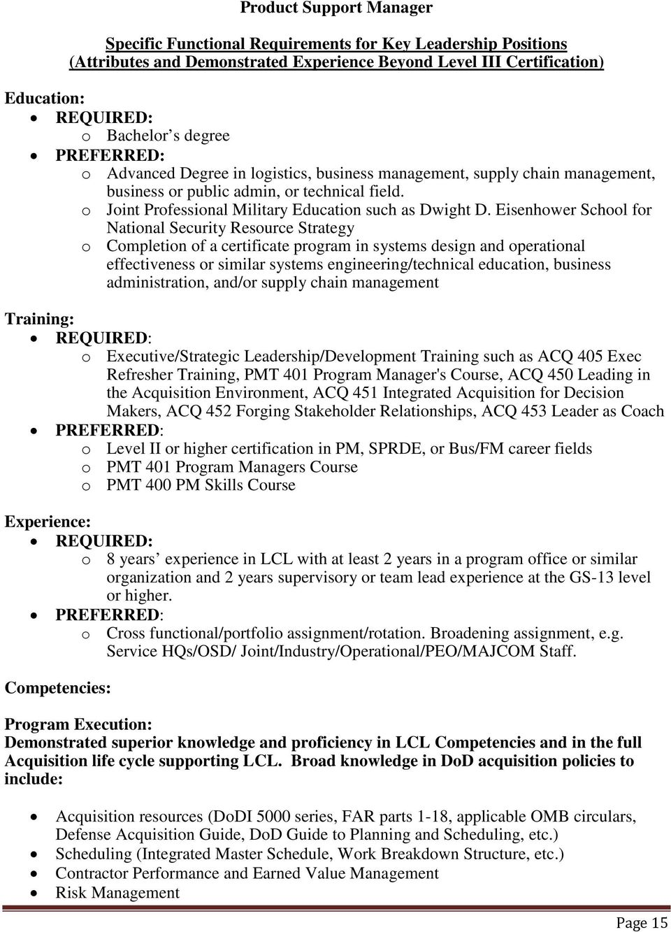 Program Management Preferred O Level Ii Or Iii Certification In A