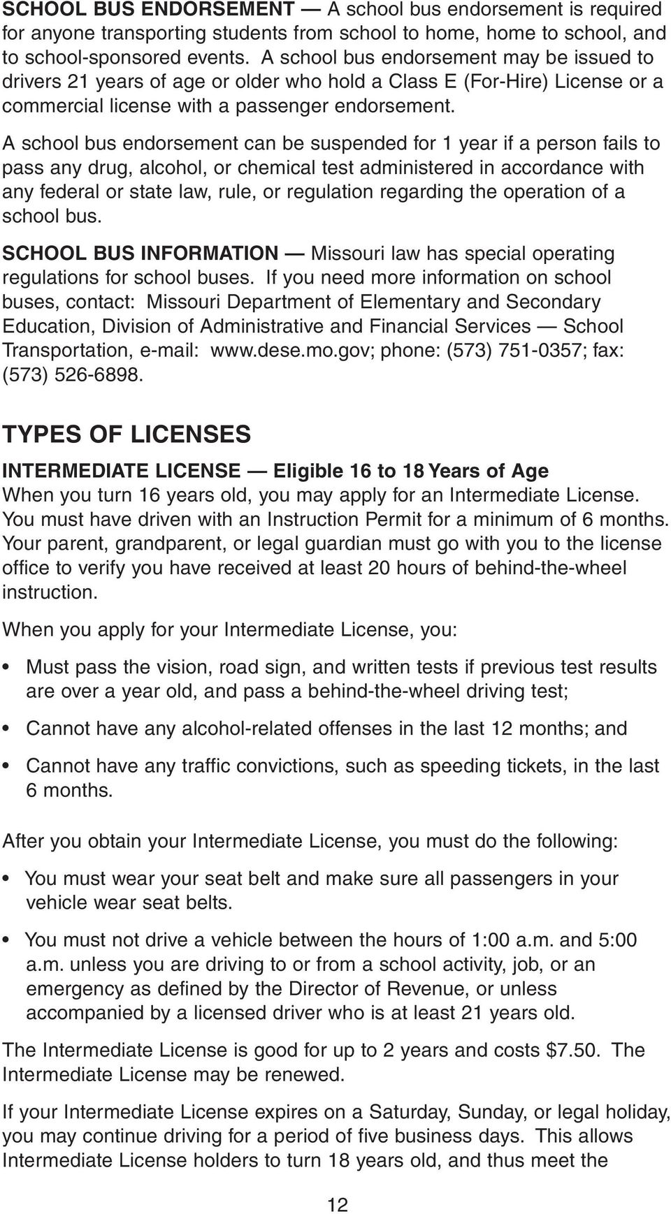 🎉 Class e drivers license test missouri | Class E License
