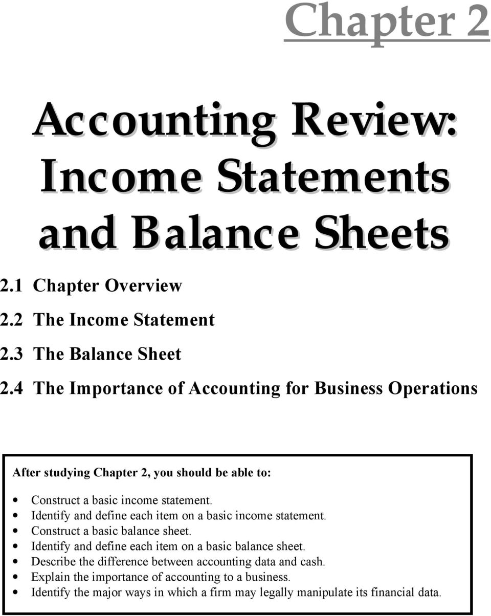 importance of balance sheet and income statement