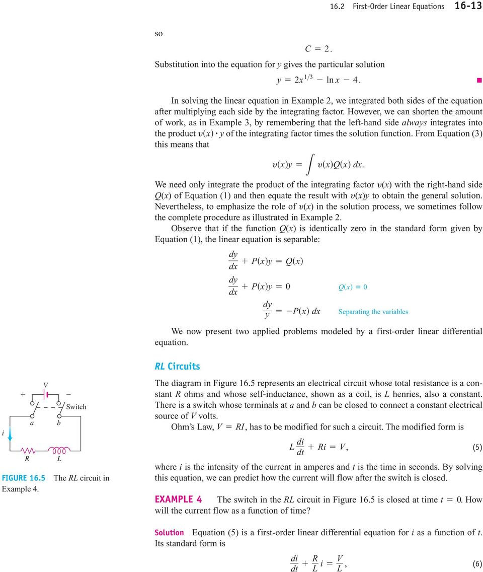 First Order Differential Equations Pdf Solve This Second Equation For A Rlc Series Circuit Each Side B The Integrating Factor