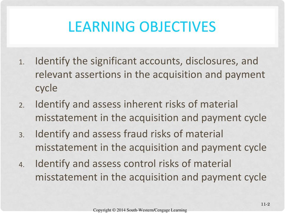 cycle 2. Identify and assess inherent risks of material misstatement in the acquisition and payment cycle 3.