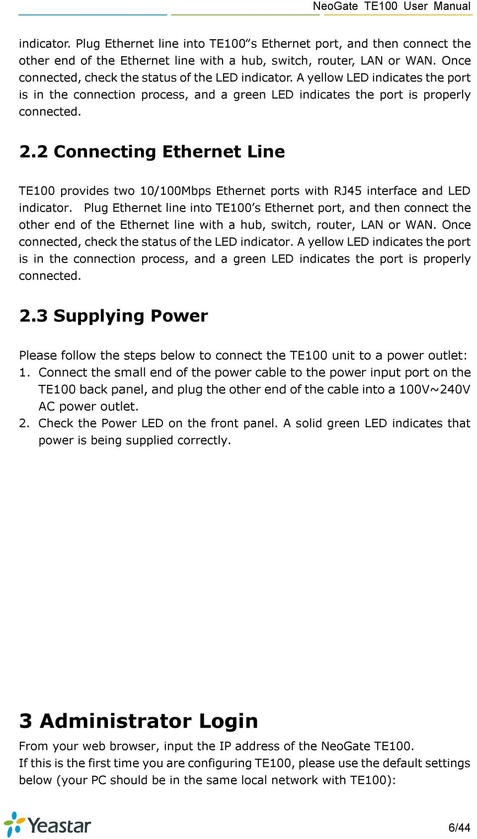 NeoGate TE100 User Manual - PDF