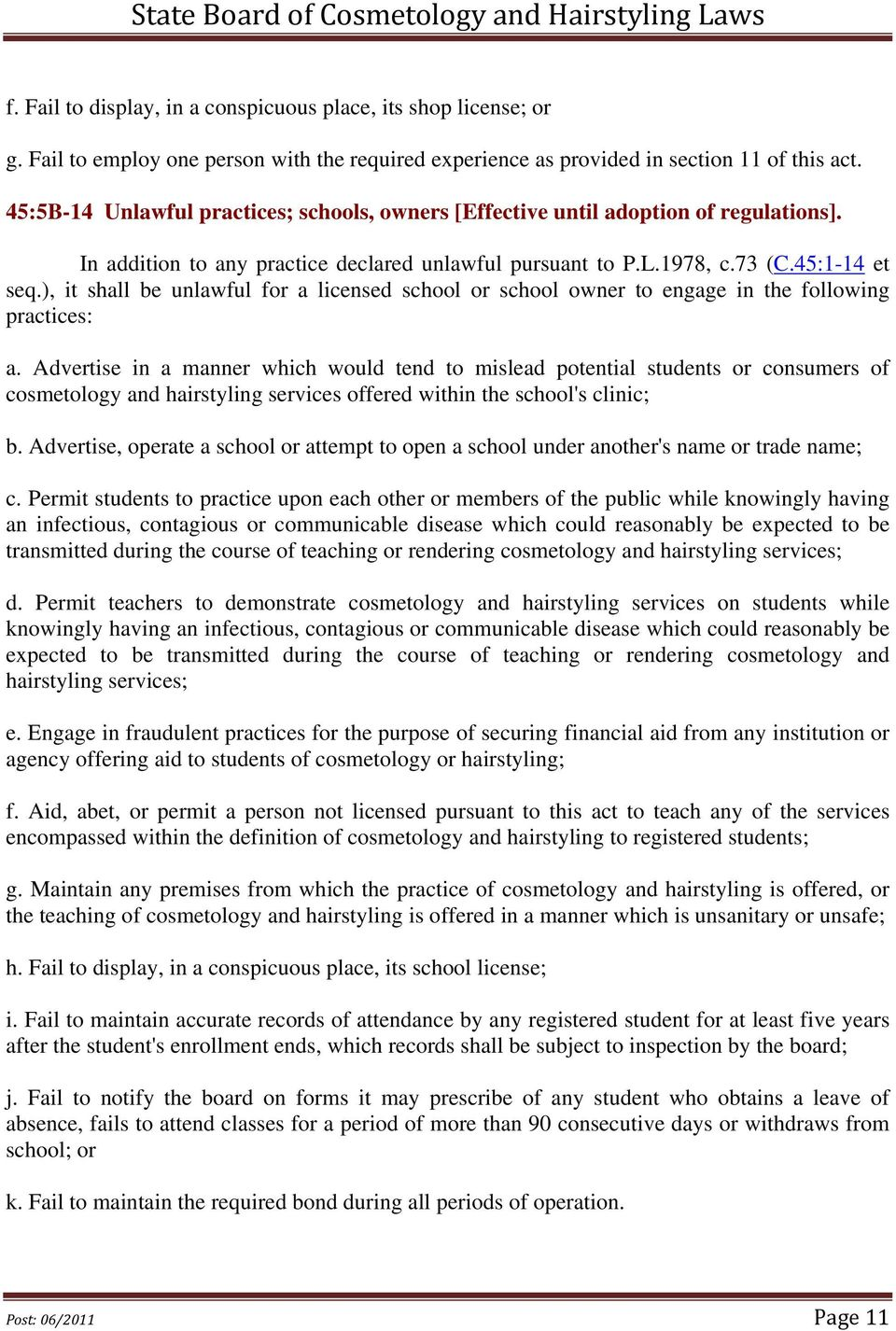state board of cosmetology and hairstyling laws - pdf