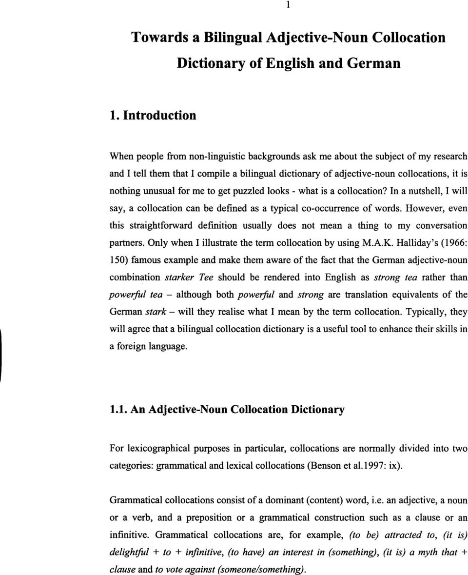 Towards a Bilingual Adjective-Noun Collocation Dictionary of English and  German DISSERTATION - PDF Free Download