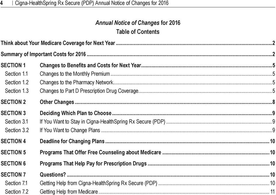 2 Changes to Benefits and Costs for Next Year...5 Changes to the Monthly Premium... 5 Changes to the Pharmacy Network... 5 Changes to Part D Prescription Drug Coverage...5 Other Changes.