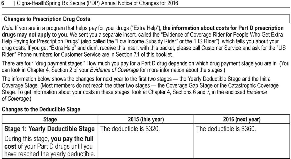 We sent you a separate insert, called the Evidence of Coverage Rider for People Who Get Extra Help Paying for Prescription Drugs (also called the Low Income Subsidy Rider or the LIS Rider ), which