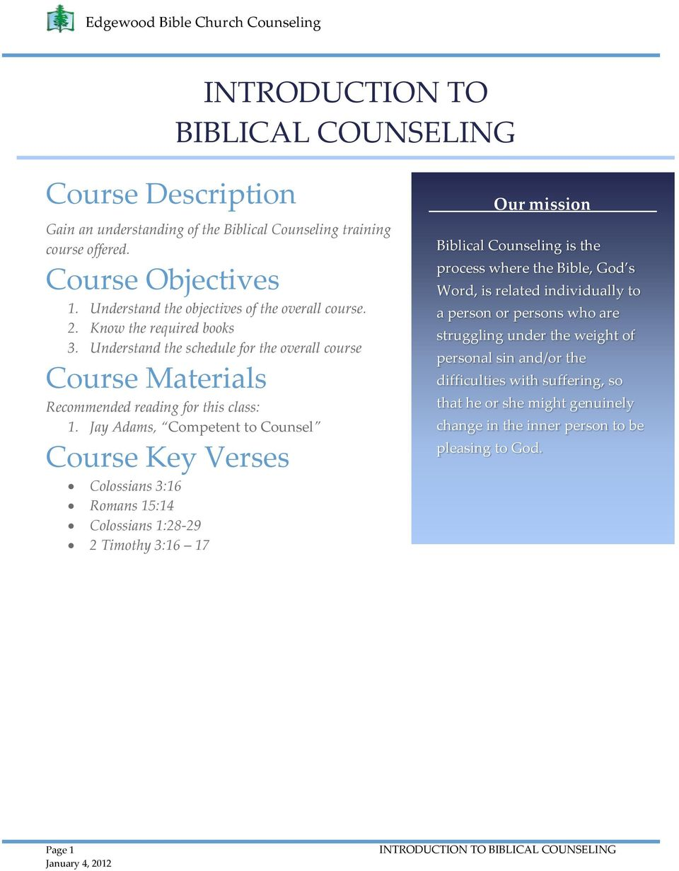 INTRODUCTION TO BIBLICAL COUNSELING - PDF