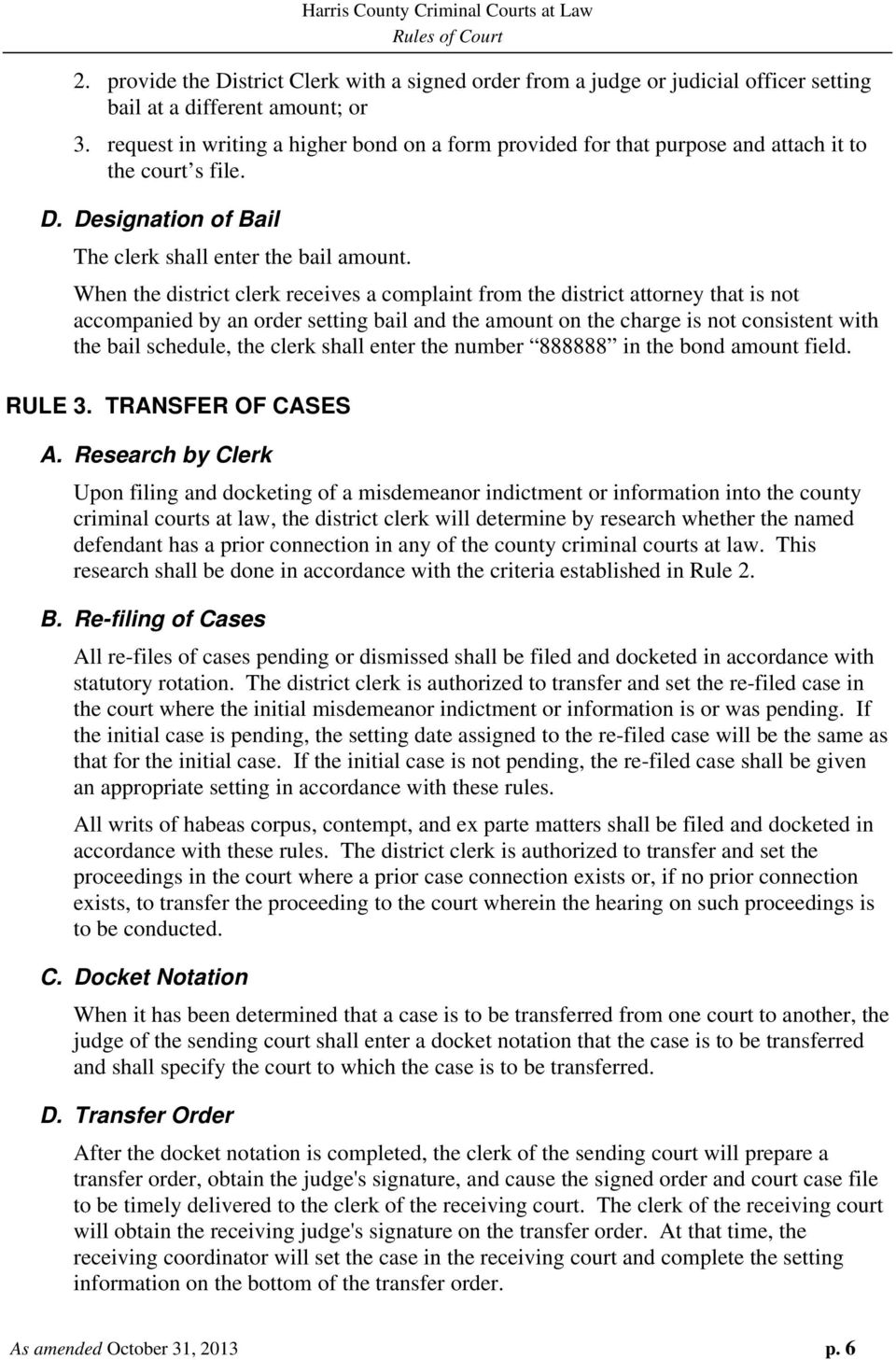 RULES OF COURT Harris County Criminal Courts at Law - PDF