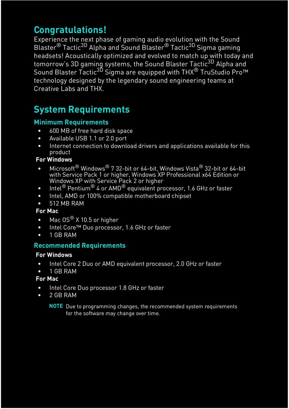 System Requirements  Minimum Requirements  Recommended