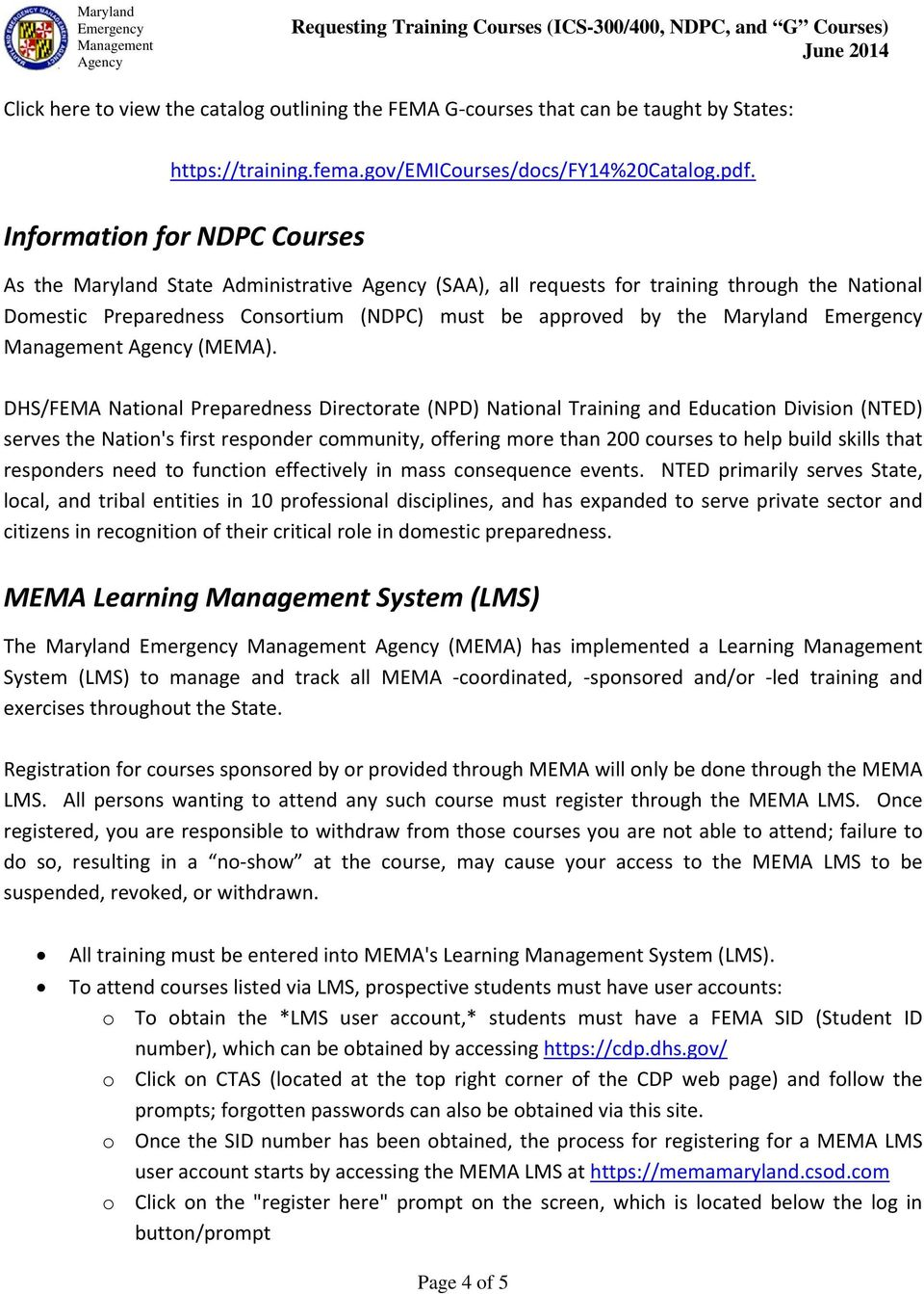 Maryland Emergency Management Agency  Requesting Training Courses