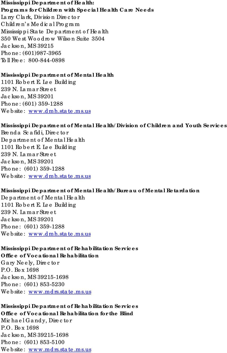 Advocacy And Support Services Mississippi Resources Pdf