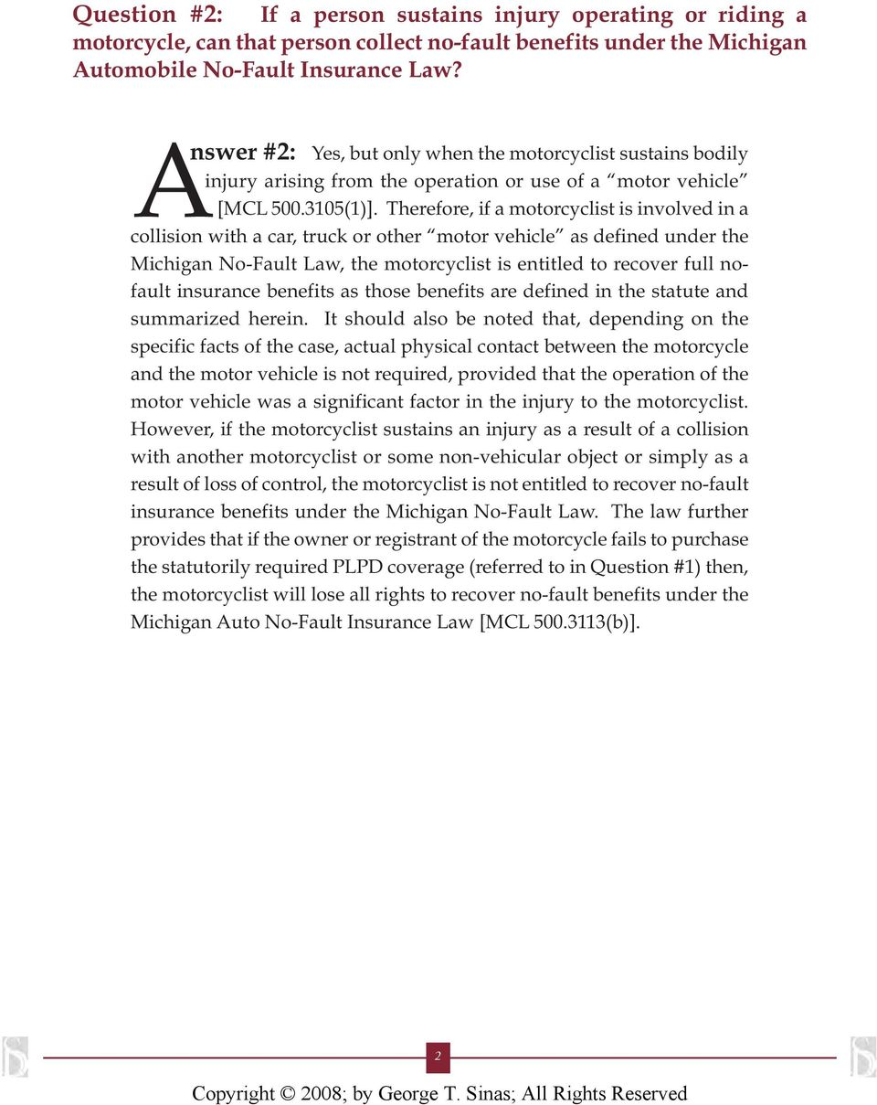 motorcyclists and the michigan no-fault law - pdf