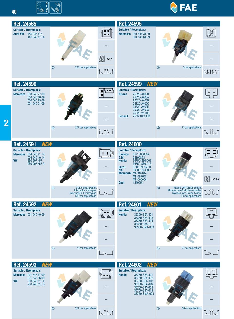 Stop Light Switches And Clutch Pedal Interruptores Luz De Y Gm Cruise Control 4591 Mercedes 004 545 1 14 006 10 Vw E0 907 457