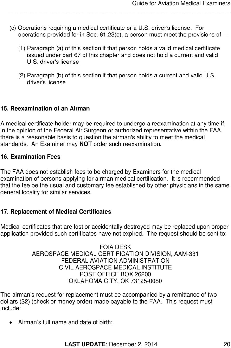 Current medical certificate for drivers 61