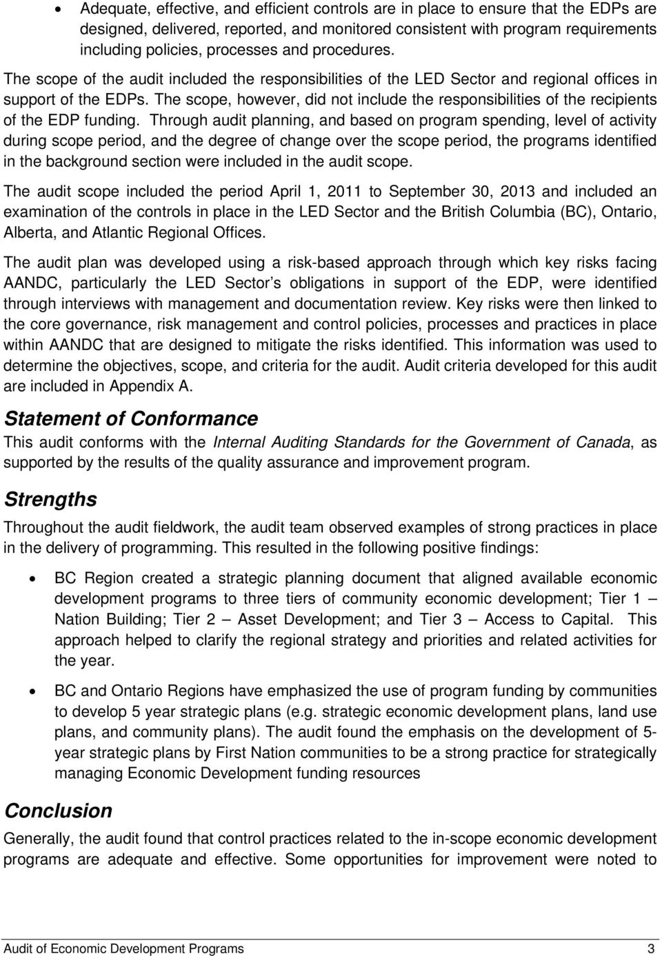 Aboriginal Affairs and Northern Development Canada  Internal Audit