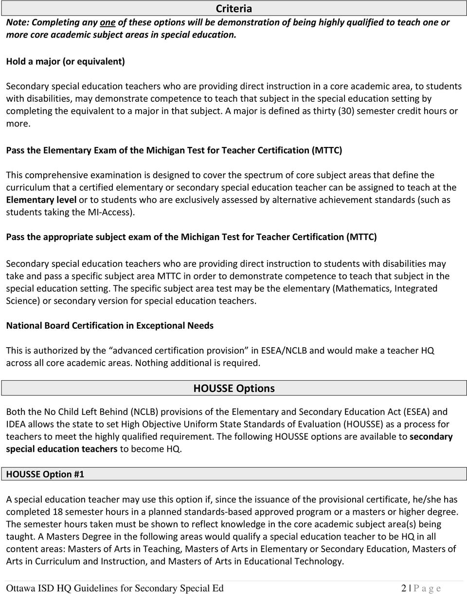 Guidelines For Special Education Teachers Certificated Or Teaching