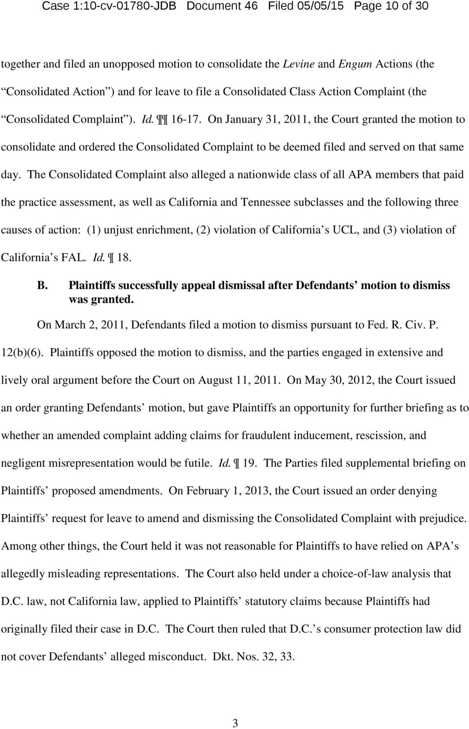 Case 1:10-cv JDB Document 46 Filed 05/05/15 Page 1 of 30