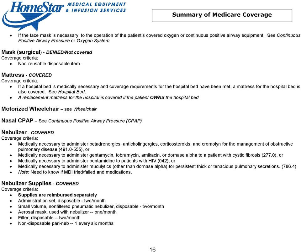 Summary of Medicare Coverage for Medical Equipment - PDF