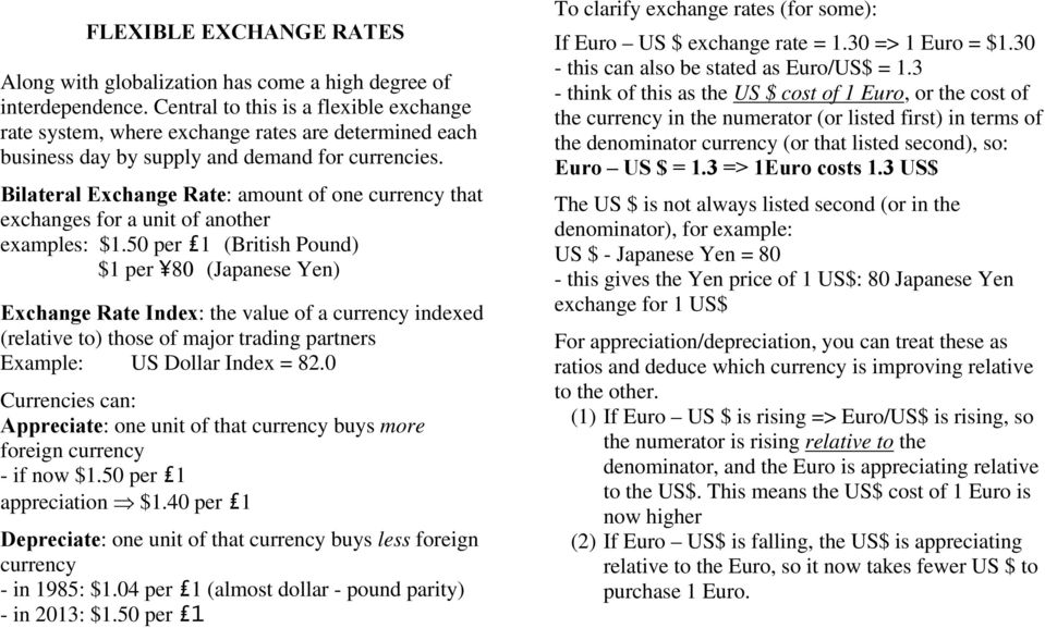 Bilateral Exchange Rate: amount of one currency that exchanges for a unit of another examples: $1.