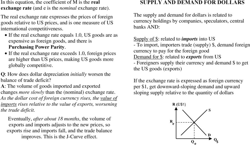 0, US goods are as expensive as foreign goods, and there is Purchasing Power Parity. If the real exchange rate exceeds 1.