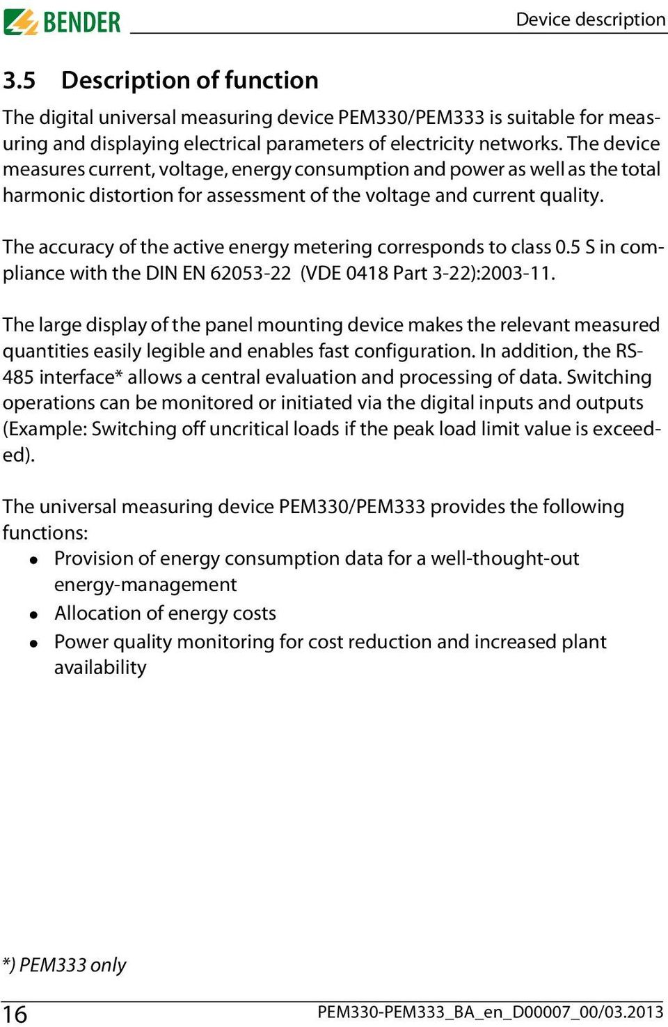 Operating Manual Pem330 Pem333 B Universal Measuring Device Which Displays The Cost Of Powering Monitored Load Accuracy Active Energy Metering Corresponds To Class 05 S In Compliance With