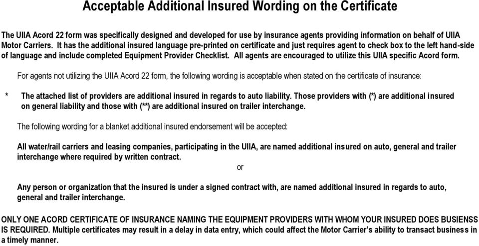 Quick Reference for Insurance Agents For Completing and