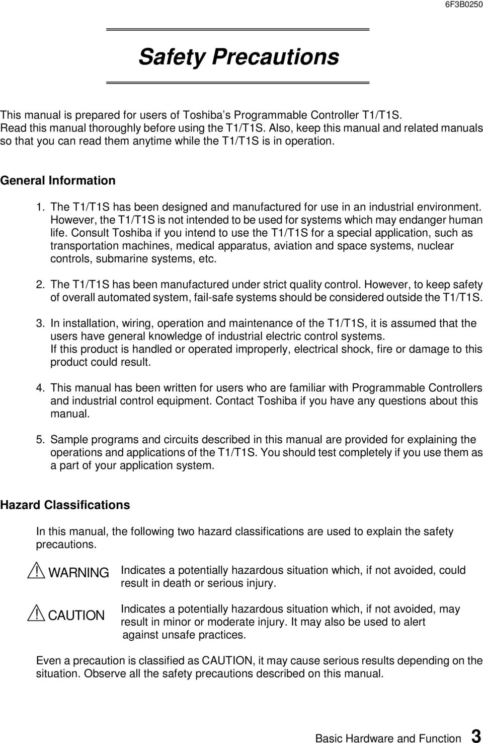 User S Manual Basic Hardware And Function Pdf Toshiba G7 Wiring Diagram The T1 T1s Has Been Designed Manufactured For Use In An Industrial Environment