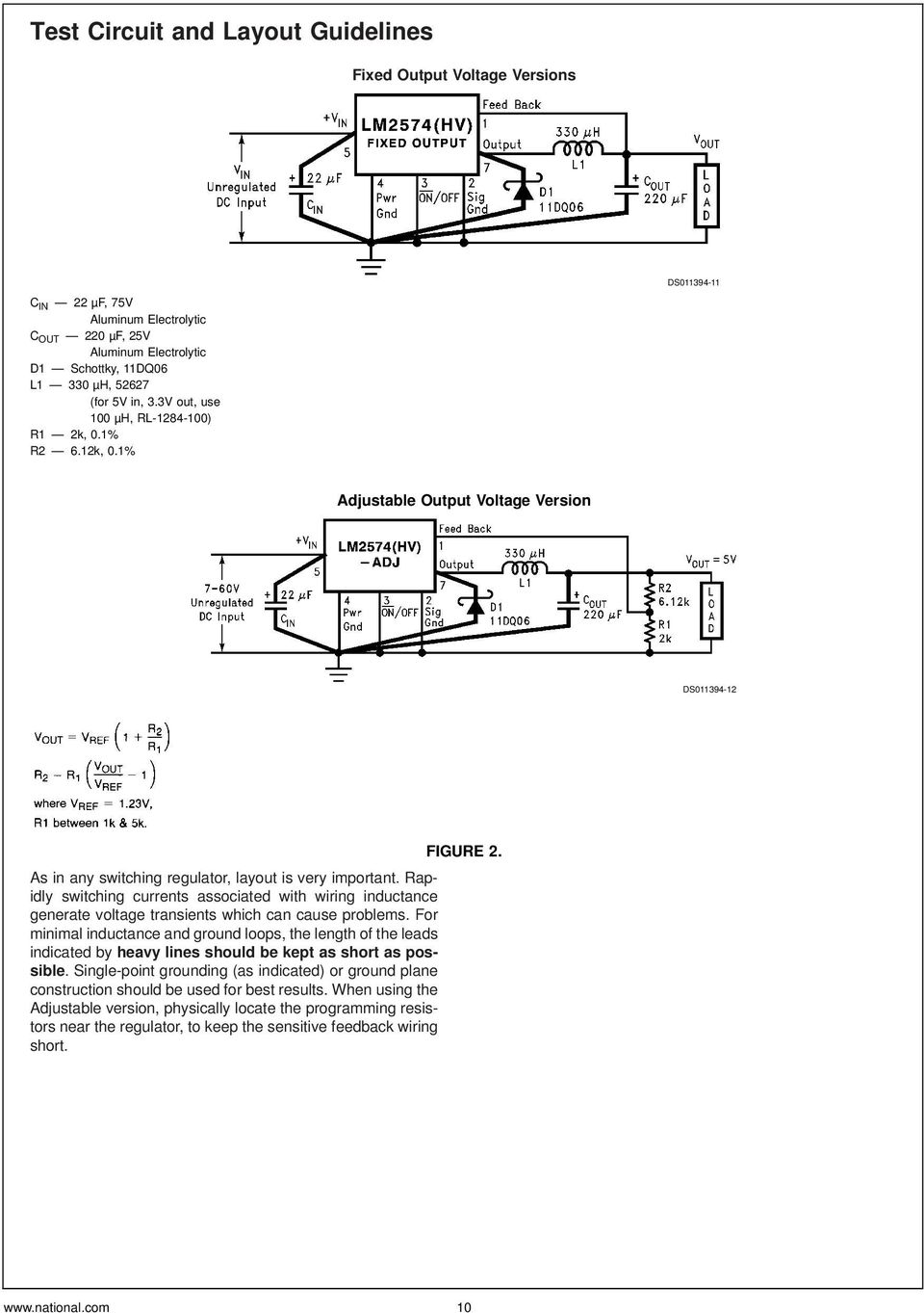 Lm2574 Lm2574hv Simple Switcher 05a Step Down Voltage Regulator Pdf Lamp Flasher Using Lm317 Rapidly Switching Currents Associated With Wiring Inductance Generate Transients Which Can Cause Problems