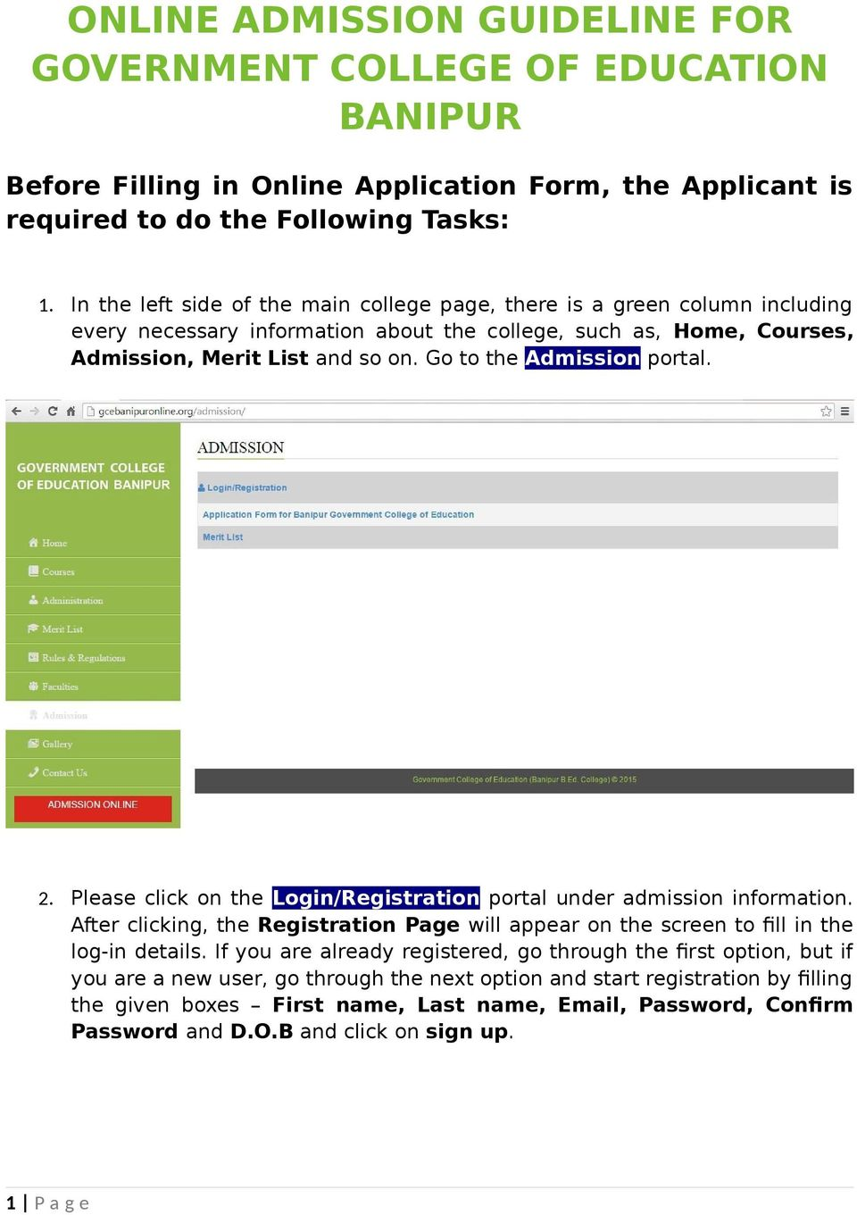 ONLINE ADMISSION GUIDELINE FOR GOVERNMENT COLLEGE OF