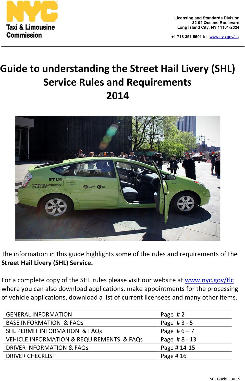 Guide to understanding the Street Hail Livery (SHL) Service Rules