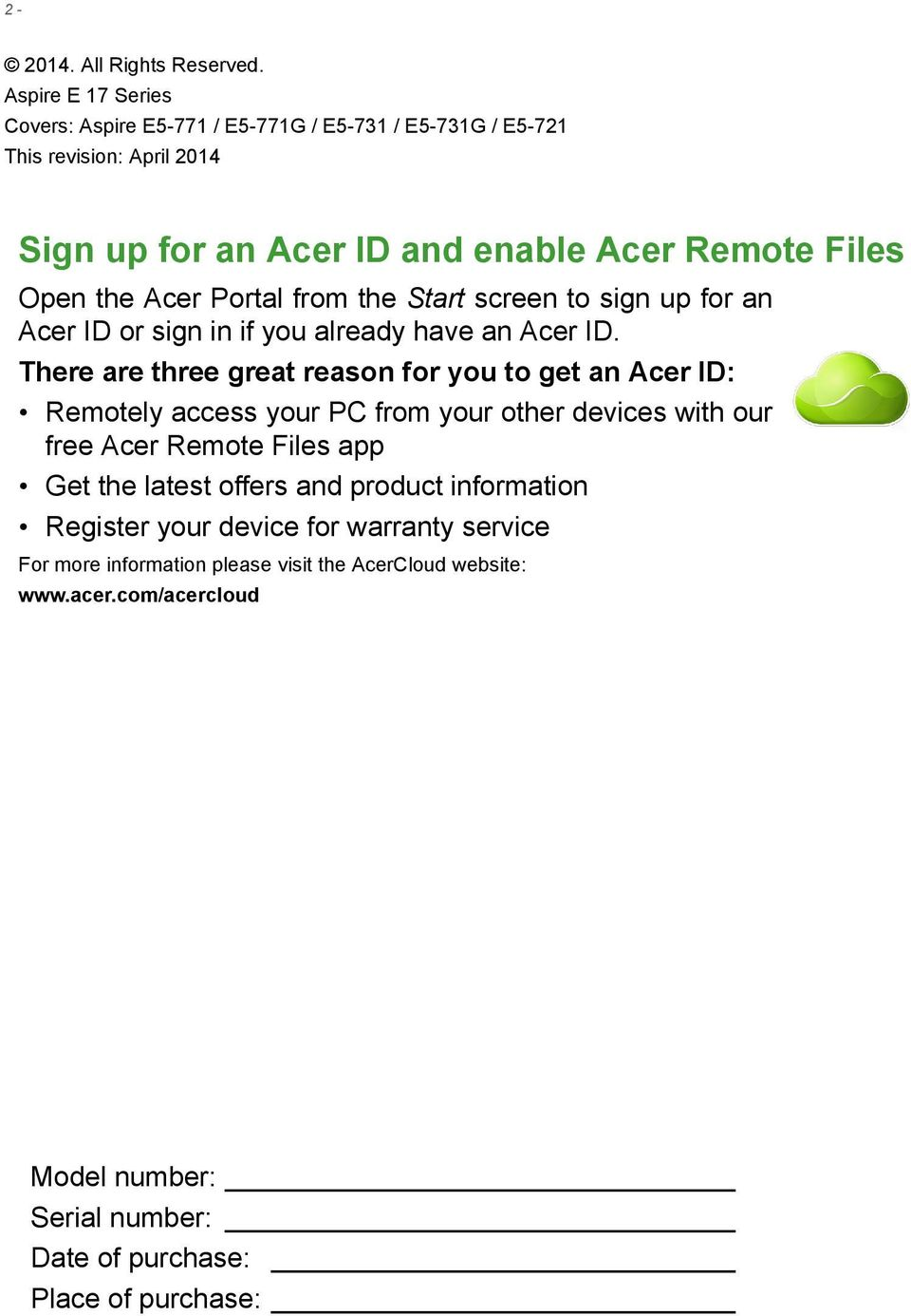 Sign Up For An Acer Id And Enable Remote Files Pdf Starter Portal From The Start Screen To Or In