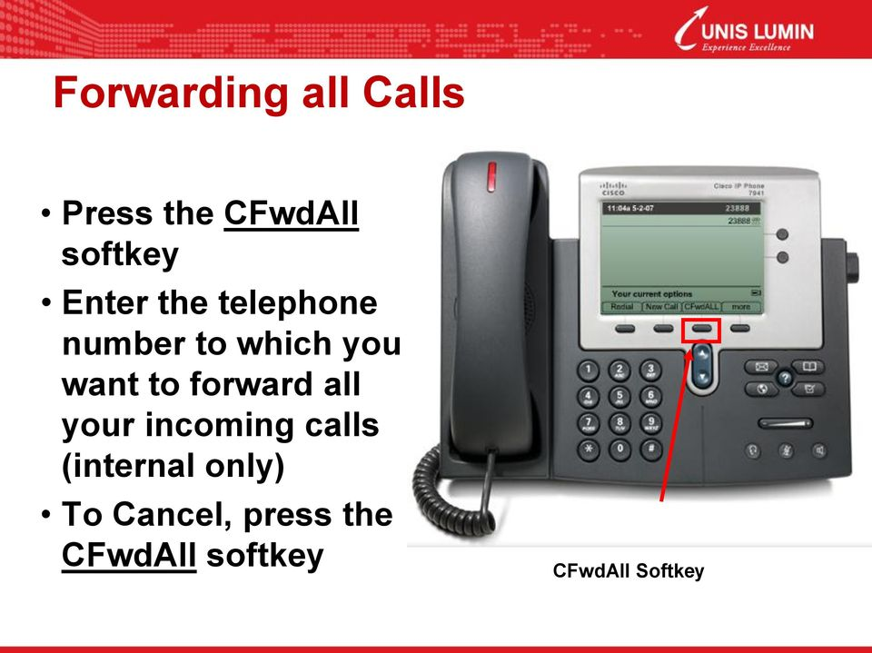 forward all your incoming calls (internal only)