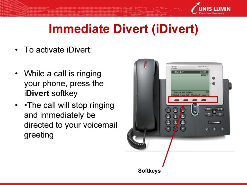 idivert softkey The call will stop ringing and