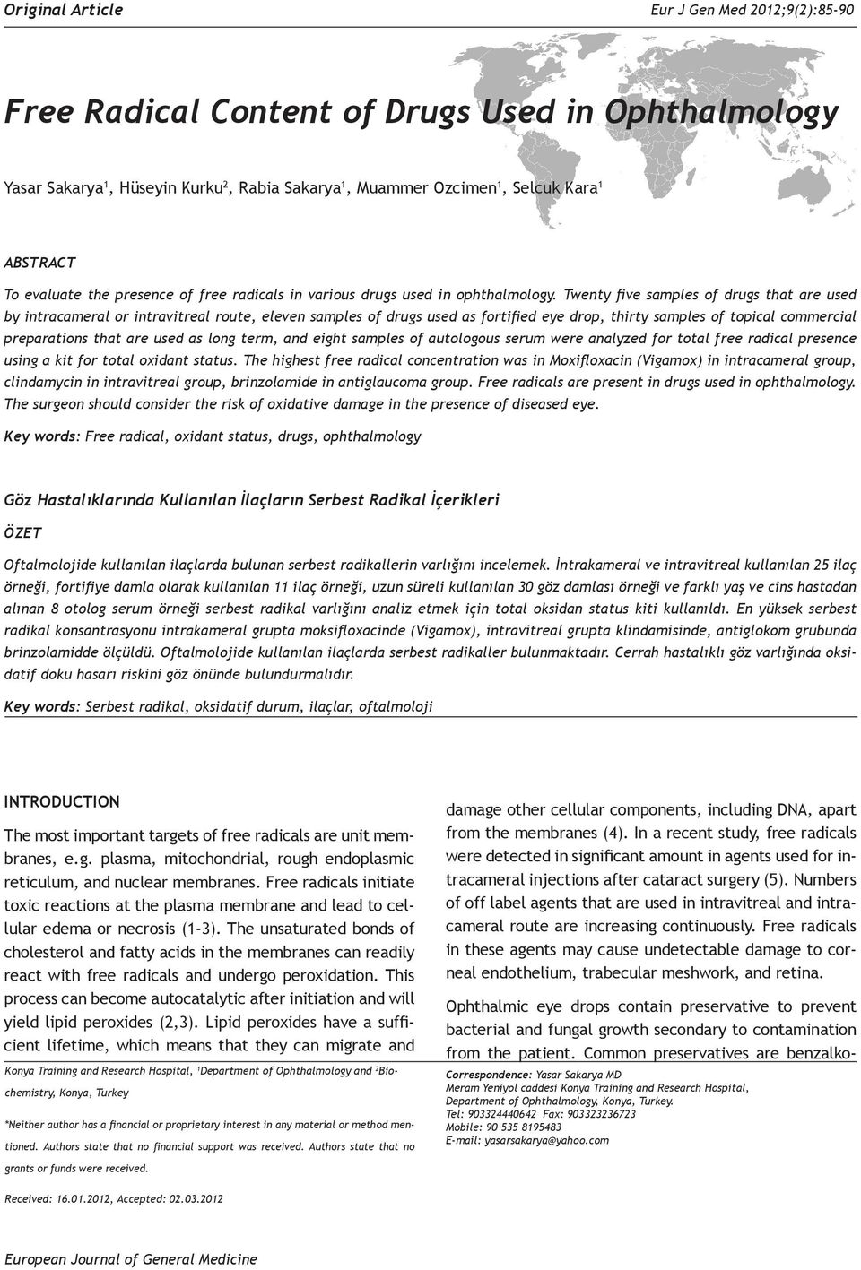 Free Radical Content of Drugs Used in Ophthalmology - PDF