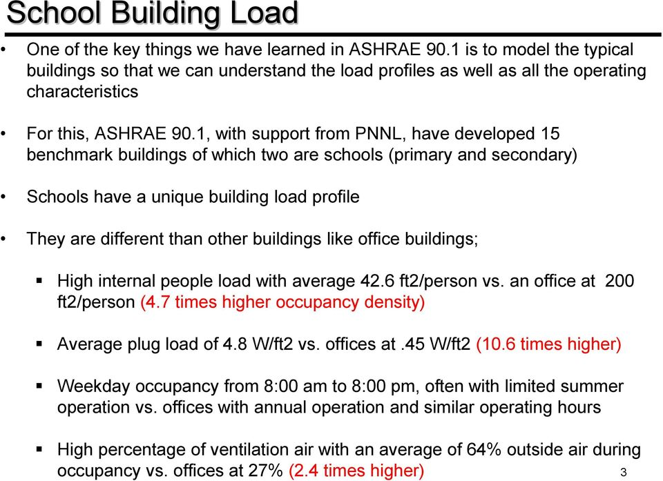1, with support from PNNL, have developed 15 benchmark buildings of which two are schools (primary and secondary) Schools have a unique building load profile They are different than other buildings