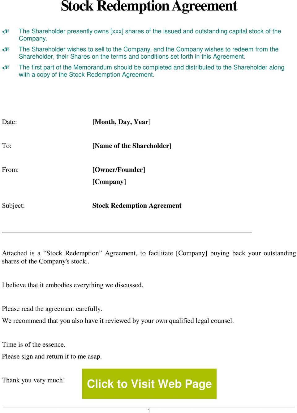 Stock Redemption Agreement Pdf