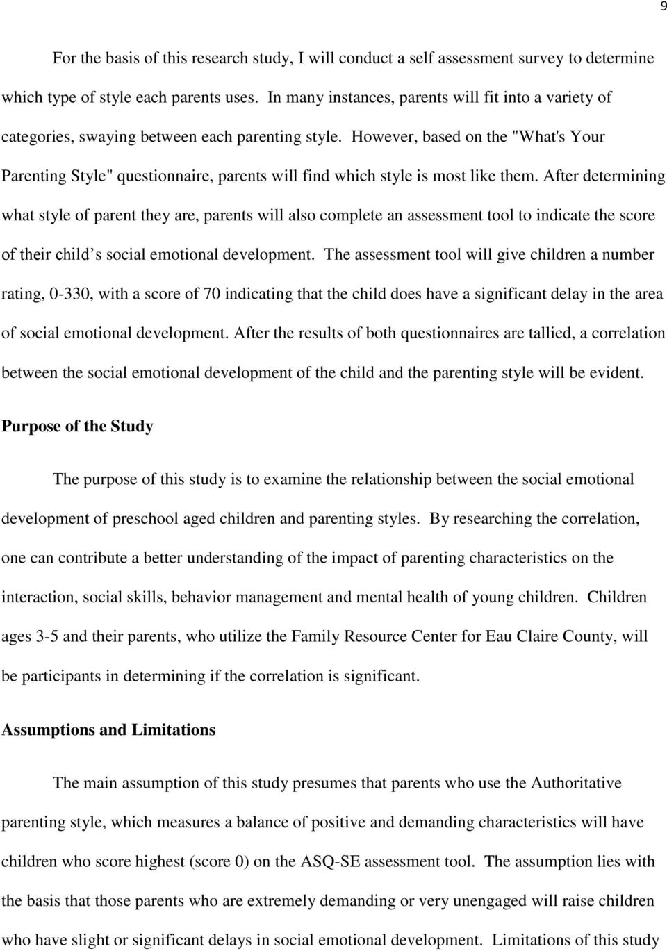 The Effects of Parenting Styles on a Preschool Aged  Child s Social