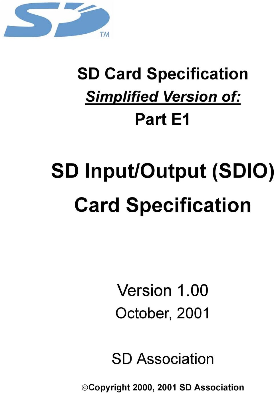 SD Input/Output (SDIO) Card Specification - PDF