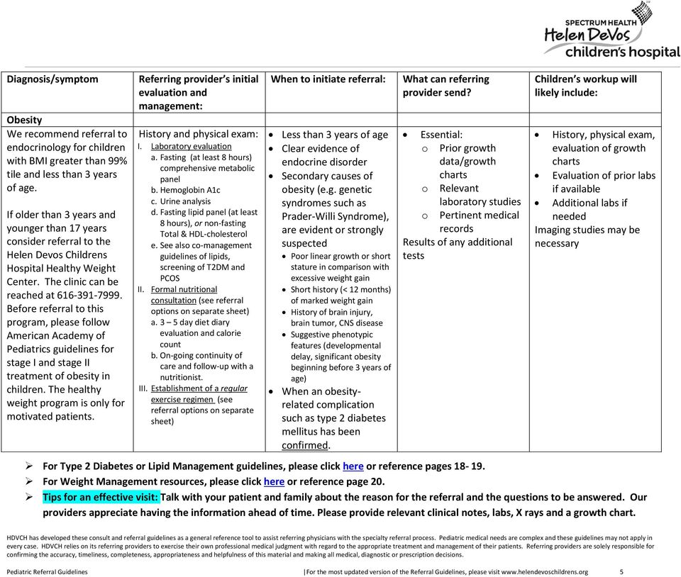 Pediatric Endocrinology Consult and Referral Guidelines - PDF