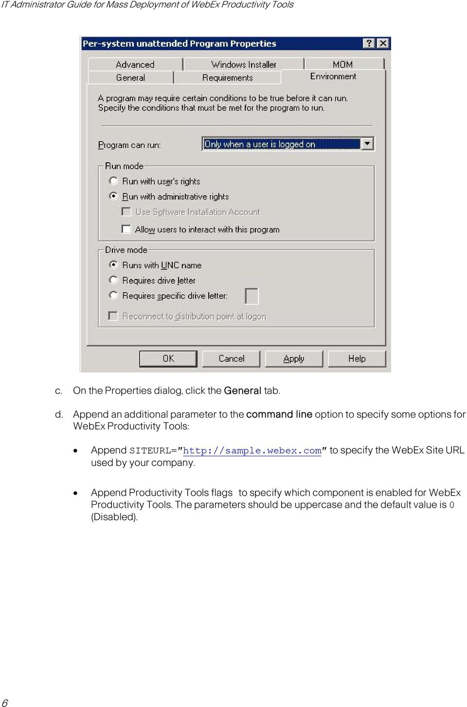 IT Administrator Guide for Mass Deployment of WebEx
